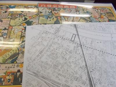 写真:実際の地図と双六シート