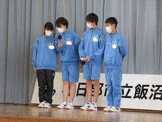 1年生の学年集会 各クラスの代表がクラスの良いところを中心に立派に発表していました