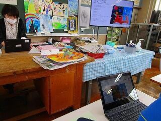 2年1組 美術 「空想の世界を描く」発表会と鑑賞会 タブレットを使って感想がそれぞれの生徒に届きます