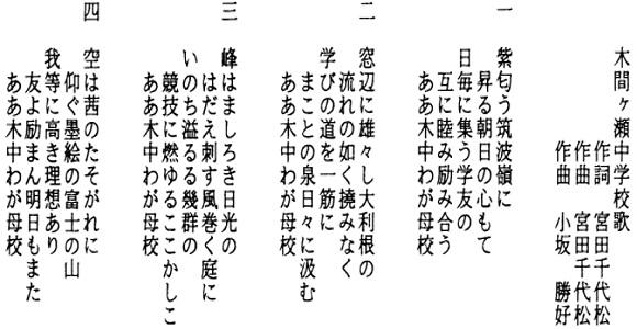 木間ケ瀬中学校校歌